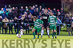 Killarney Celtic Podge O'Connor uses his stregth against Shane Waters Jamesboro in the FAI cup quarter final in Celtic Park on Saturday night