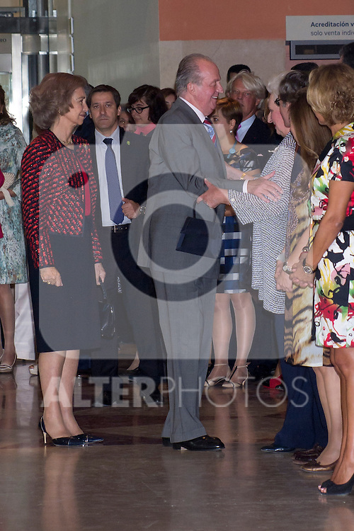 08.10.2012. Spanish Royals, Juan Carlos and Sofia, preside the ceremony commemorating the 20th anniversary of the Thyssen-Bornemisza Museum located in the Villahermosa Palace, in Madrid, Spain. In the image King Juan Carlos of Spain, Queen Sofia of Spain and Princess Pilar de Borbon (Duchess of Badajoz). (Alterphotos/Marta Gonzalez)
