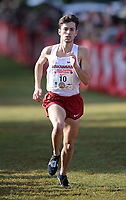 NWA Democrat-Gazette/ANDY SHUPE<br /> Arkansas' Matt Young comes in to the finish line Saturday, Oct. 5, 2019, to take fourth place in the men's collegiate race during the Chile Pepper Cross Country Festival at Agri Park in Fayetteville. Visit nwadg.com/photos to see more photographs from the races.