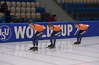 SPEEDSKATING: 06-12-2018, Tomaszów Mazowiecki (POL), ISU World Cup Arena Lodowa, Jos de Vos (NED), Marcel Bosker (NED), Louis Hollaar (NED), ©photo Martin de Jong