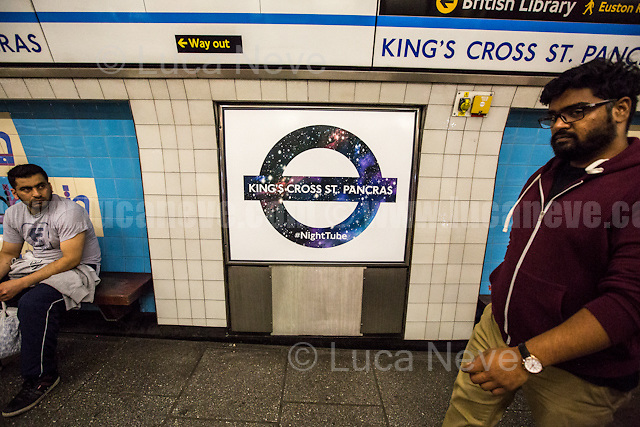 King's Cross tube station.<br /> <br /> London, 19/08/2016. Tonight, Transport For London (TfL) launches for the first time in London's history the 24-hour tube service starting with Central and Victoria Lines (51 stations in total). The service comes a year later than planned by the former Mayor of London Boris Johnson (now British Foreign Secretary) due to several strikes held by TfL workers over pay and safety reasons. Jubilee, Northern and Piccadilly lines will follow in two separate phases later in the autumn as new Tube drivers (about 200 part-time drivers) will end their training. At the moment the trains run on average every 10 minutes and TfL charges standard off-peak fares for travelling on the Night Tube.<br /> <br /> For more information please click here: https://tfl.gov.uk/campaign/tube-improvements/what-we-are-doing/night-tube