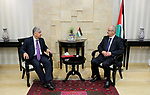Palestinian Prime Minister Rami Hamdallah receives report of the Palestinian retirement Authority for 2016, at his office in the West Bank city of Ramallah on June 22, 2017. Photo by Prime Minister Office