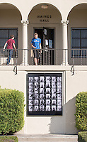 A plaque that hangs at Haines Hall of an enlarged contact sheet of photographs taken by Lisa Jack '81 of then-freshman Barack Obama '83, who lived in Haines. Photo taken Dec. 4, 2014. (Photo by Marc Campos, Occidental College Photographer)