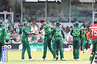 Shaheen Afridi (Pakistan) congratulated by team mates following the wicket of Das during Pakistan vs Bangladesh, ICC World Cup Cricket at Lord's Cricket Ground on 5th July 2019