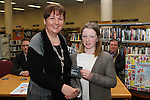 5th Class Student from Le Cheile Educate Together NS, Jennifer O'Donoghue receives her runner up prize from Anne Hennessy at the Drogheda Counts Presentation in Drogheda Library...(Photo credit should read Jenny Matthews/NEWSFILE)...