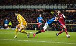 20.02.2020 Rangers v SC Braga: Ianis Hagi goes past Matheus and goes down