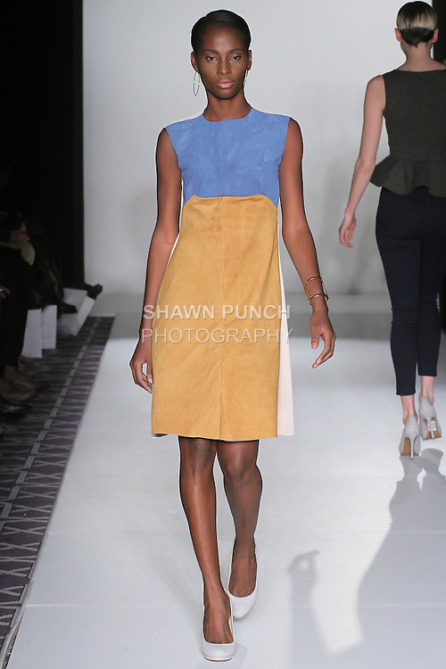 Model walks runway in an outfit from The Kelly Hawkins Fall 2016 collection, at the Emerging Designers Fall 2016 show, at Fashion Gallery New York Fashion Week Fall Winter 2016, during New York Fashion Week Fall 2016.