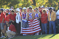 USA fans at the 16th green during Sunday's Singles Matches of the 39th Ryder Cup at Medinah Country Club, Chicago, Illinois 30th September 2012 (Photo Colum Watts/www.golffile.ie)