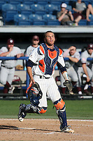 Aaron Burnett (7) of the Pepperdine Waves at catcher during a game against the Texas A&M Aggies at Eddy D. Field Stadium on February 26, 2016 in Malibu, California. Pepperdine defeated Texas A&M, 7-5. (Larry Goren/Four Seam Images)