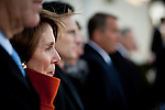Congressional minority leader Nancy Pelosi watches President Barack Obama leave the US Capitol during the inauguration, January 21, 2013 in Washington, D.C.