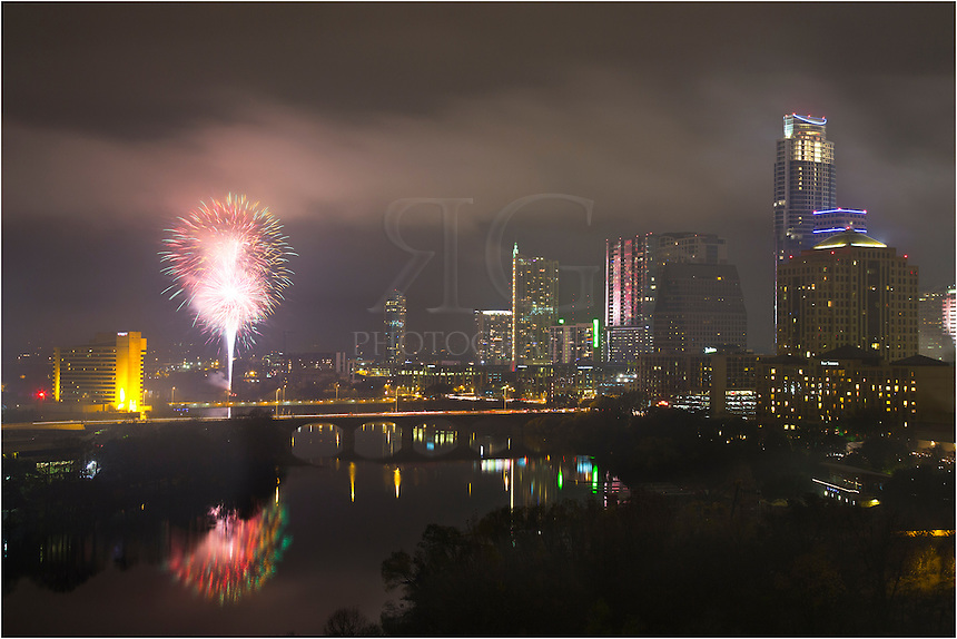 From the shores of Lady Bird Lake and Auditorium at Zilker Park, this is how folks from Austin, Texas, celebrate New Year's Eve - with fireworks near downtown.