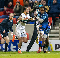 6th March 2020; AJ Bell Stadium, Salford, Lancashire, England; Premiership Rugby, Sale Sharks versus London Irish; Marland Yarde of Sale Sharks is tackled on the wing