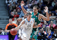 Real Madrid's Jaycee Carroll (l) and Zalgiris Kaunas' Mario Delas during Euroleague 2012/2013 match.January 11,2013. (ALTERPHOTOS/Acero) NortePHOTO