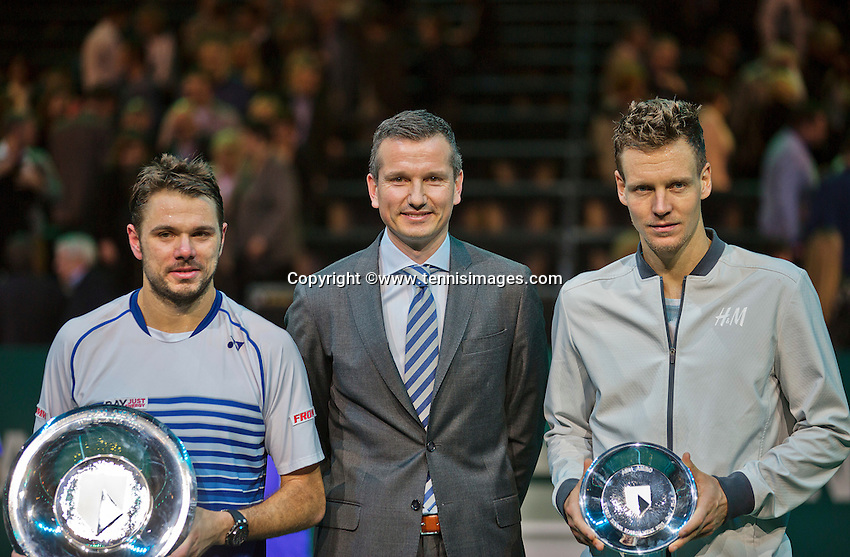 Februari 15, 2015, Netherlands, Rotterdam, Ahoy, ABN AMRO World Tennis Tournament, Final:  Richard Krajicek, tournament director with left winner Stanislas Wawrinka (SUI) right runner up Tomas Berdych (CZE) <br /> Photo: Tennisimages/Henk Koster