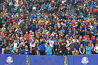 Part of the crowd at the 18th green after Team Europe win the 2018 Ryder Cup at Le Golf National, Ile-de-France, France. 30/09/2018.<br /> Picture Thos Caffrey / Golffile.ie<br /> <br /> All photo usage must carry mandatory copyright credit (© Golffile | Thos Caffrey)