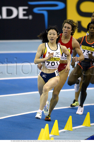 701. MIHO SUGIMORI (JPN), Women's 800m Heat, IAAF World Indoor Championships, Birmingham National Indoor Arena 030314. Photo: Glyn Kirk/Action Plus...2003.athletics track and field athlete athletes woman women runner