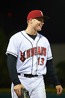 Indianapolis Indians right fielder Austin Meadows (13) jokes with teammates before giving a post game interview after a game against the Toledo Mud Hens on May 2, 2017 at Victory Field in Indianapolis, Indiana.  Indianapolis defeated Toledo 9-2.  (Mike Janes/Four Seam Images)