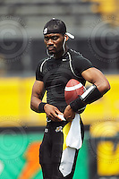 July 12, 2008; Hamilton, ON, CAN; Hamilton Tiger-Cats quarterback Richie Williams (17) prior to the CFL football game against the Saskatchewan Roughriders at Ivor Wynne Stadium. The Roughriders defeated the Tiger-Cats 33-28. Mandatory Credit: Ron Scheffler.
