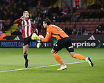 Matt Done of Sheffield United collides with Kelle Roos of Bristol Rovers during the EFL League One match at the Bramall Lane Stadium, Sheffield. Picture date: September 27th, 2016. Pic Jamie Tyerman/Sportimage