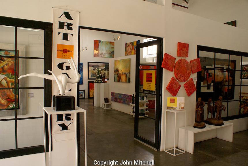 Art gallery in  Fabrica La Aurora Art and Design Center, San Miguel de Allende, Mexico. San Miguel de Allende is a UNESCO World Heritage Site....