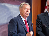"United States Senator Lindsey Graham (Republican of South Carolina), one of several key Republican Senators, answers a reporter's question as he announces he will not support the ""skinny repeal"" of the Affordable Care Act (ACA) unless they have assurances from US House leaders that the bill will never become law.  Instead they demand negotiations or they will kill the bill, in the US Capitol in Washington, DC on Thursday, July 27, 2017.  <br /> Credit: Ron Sachs / CNP"
