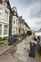 Pictured: Police at the house in Glynrhondda Street, Cardiff, where a woman was killed. Wednesday 01 May 2019<br /> Re: Police are investigating a murder following the death of a 21-year-old Lauren Griffiths.<br /> They were called to Glynrhondda Street in the Cathays area of in Cardiff, south Wales, following reports of an incident on Tuesday after 6pm.<br /> A 22-year-old man has been arrested in connection by South Wales Police.
