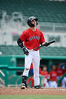 GCL Red Sox center fielder Caleb Ramsey (39) at bat during a game against the GCL Rays on August 1, 2018 at JetBlue Park in Fort Myers, Florida.  GCL Red Sox defeated GCL Rays 5-1 in a rain shortened game.  (Mike Janes/Four Seam Images)