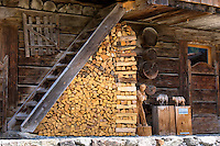 Woodpile of wood carver's studio in Klosters in Graubunden region, Switzerland