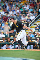 Pittsburgh Pirates MIchael Suchy (97) follows through on a swing during a Grapefruit League Spring Training game against the New York Yankees on March 6, 2017 at LECOM Park in Bradenton, Florida.  Pittsburgh defeated New York 13-1.  (Mike Janes/Four Seam Images)