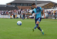Joe Jacobson of Wycombe Wanderers crosses the ball during the Friendly match between Maidenhead United and Wycombe Wanderers at York Road, Maidenhead, England on 30 July 2016. Photo by Alan  Stanford PRiME Media Images.
