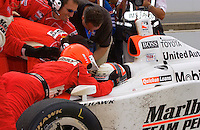 87th Indianapolis 500, Indianapolis Motor Speedway, Speedway, Indiana, USA  25 May,2003.Winner Gil deFerran receives congratulations from his crew..World Copyright©F.Peirce Williams 2003 .ref: Digital Image Only..F. Peirce Williams .photography.P.O.Box 455 Eaton, OH 45320.p: 317.358.7326  e: fpwp@mac.com..