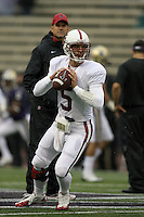 Oct 30, 20010:  Stanford quarterback #5 Alex Loukas warms up before the game against Washington.  Stanford defeated Washington 41-0 at Husky Stadium in Seattle, Washington...