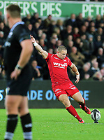 Rhys Jones of the Scarlets fails to score with a kick during the Guinness PRO14 Round 6 match between Ospreys and Scarlets at The Liberty Stadium , Swansea, Wales, UK. Saturday 07 October 2017