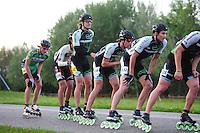 INLINE-SKATEN: STEENWIJK: Gagelsweg (start/finish), Schansweg, Meppelerweg, KPN Inline Cup, Klim van Steenwijk, 02-05-2012, Ruben Wieberdink (#86), Kwak ki Dong (#536), Ferre Spruyt (#142), Jore v.d. Berghe (#534), Michael Cheek (#532), ©foto Martin de Jong