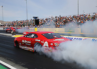 Apr 10, 2015; Las Vegas, NV, USA; NHRA pro stock driver Drew Skillman during qualifying for the Summitracing.com Nationals at The Strip at Las Vegas Motor Speedway. Mandatory Credit: Mark J. Rebilas-