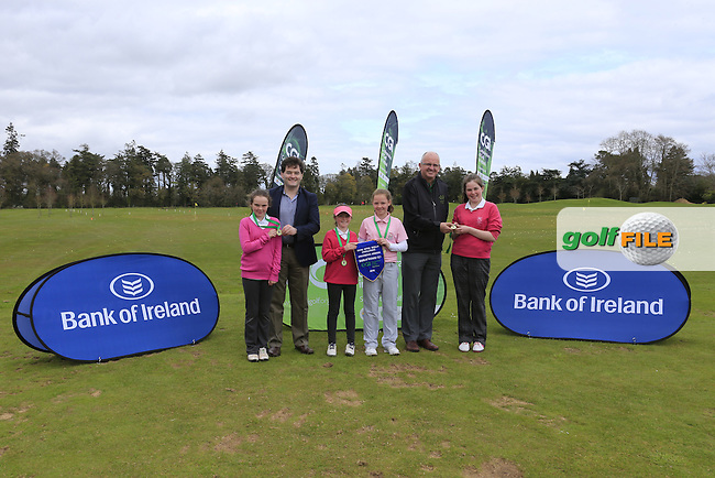 Gavin Kelly Bank Of Ireland and Justin O'Byrne CGI present Munster regional finalist Ballysisteen Golf Club with there medals and pendant at the national finals of the Dubai Duty Free Irish Open Skills Challenge supported by Bank of Ireland in conjunction with CGI at the GUI National Golf Academy, Carton House, Maynooth, Co Kildare. 24/04/2016.<br /> Picture: Golffile | Fran Caffrey<br /> <br /> <br /> All photo usage must carry mandatory copyright credit (&copy; Golffile | Fran Caffrey)