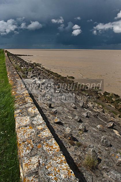 Europe/France/Aquitaine/33/Gironde/Estuaire de la Gironde/Saint-Vivien-de Médoc: les digues qui bordent les  rives de l'Estuaire de la Gironde