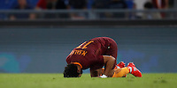 Calcio, Serie A: Roma, stadio Olimpico, 21 settembre 2016.<br /> Roma&rsquo;s Mohamed Salah celebrates after scoring during the Serie A soccer match between Roma and Crotone at Rome's Olympic stadium, 21 September 2016. Roma won 4-0.<br /> UPDATE IMAGES PRESS/Isabella Bonotto