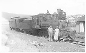 3/4 engineer's-side view of D&amp;RGW #278 with a combine at Sapinero.  Engineer P. J. Ready and his wife are posing for the camera.<br /> D&amp;RG  Sapinero, CO  Taken by Duca, Frank J. - 1920
