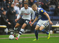 Preston North End's Lukas Nmecha under pressure from Birmingham City's Kristian Pedersen<br /> <br /> Photographer Kevin Barnes/CameraSport<br /> <br /> The EFL Sky Bet Championship - Preston North End v Birmingham City - Saturday 16th March 2019 - Deepdale Stadium - Preston<br /> <br /> World Copyright &copy; 2019 CameraSport. All rights reserved. 43 Linden Ave. Countesthorpe. Leicester. England. LE8 5PG - Tel: +44 (0) 116 277 4147 - admin@camerasport.com - www.camerasport.com