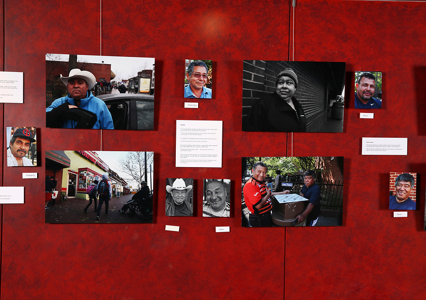 (180331RREI9574) La Esquina installation photographs, Gala Theatre Lobby,  La Esquina - The Corner exhibition at Gala Theatre. The documentary project La Esquina revolves around the history of the Latinos at the corner of Mt. Pleasant St. and Kenyon St. NW. Washington DC.  March 31, 2018 . ©  Rick Reinhard  2018     email   rick@rickreinhard.com