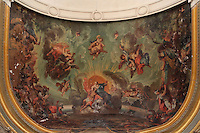 Ceiling painting of heaven with angels, in the Third Order Chapel or Temple Decadaire in the Dominican convent, completed 1774 under Louis XVI, Perpignan, Languedoc-Roussillon, France. The initial religious theme was painted by Jacques Gamelin, succeeded under the Directoire and again modified by the occupying army during the July Monarchy, when it became a garrison Chapel. Picture by Manuel Cohen