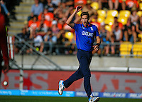 Chris Noakes watches his delivery get driven by Ross Taylor during the ICC Cricket World Cup one day pool match between the New Zealand Black Caps and England at Wellington Regional Stadium, Wellington, New Zealand on Friday, 20 February 2015. Photo: Dave Lintott / lintottphoto.co.nz