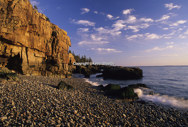 Cliff and stone beach at low tide, Acadia National Park, Maine, USA