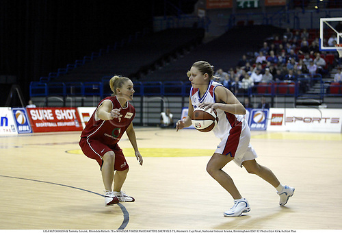 LISA HUTCHINSON & Tammy Goyne, Rhondda Rebels 78 v WINDSOR FOODSERVICE HATTERS SHEFFIELD 73, Women's Cup Final, National Indoor Arena, Birmingham 030112 Photo:Glyn Kirk/Action Plus...Basketball.2003.woman