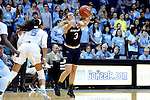 22 January 2017: Notre Dame's Marina Mabrey (3) and North Carolina's Stephanie Watts (5). The University of North Carolina Tar Heels hosted the University of Notre Dame Fighting Irish at Carmichael Arena in Chapel Hill, North Carolina in a 2016-17 NCAA Division I Women's Basketball game. Notre Dame won the game 77-55