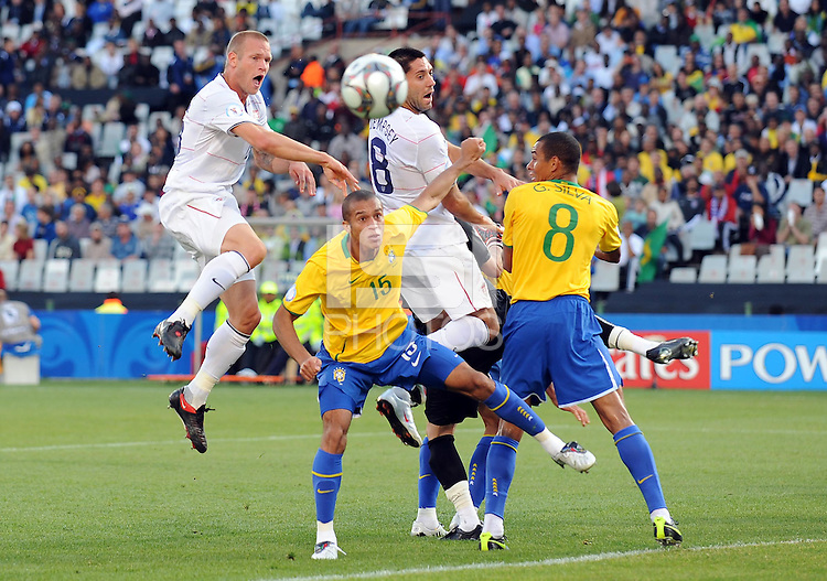 Jay DeMerit of USA goes close with a header. Brazil defeated USA 3-0 during the FIFA Confederations Cup at Loftus Versfeld Stadium in Tshwane/Pretoria, South Africa on June 18, 2009.