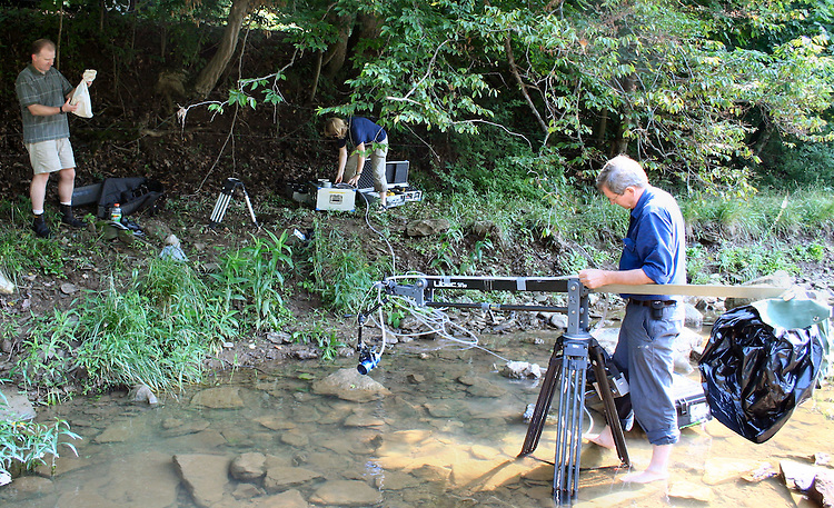 17733Dr. Mark Walters & BBC Crew Queen Snake Research : O.U. Eastern ...6/28/06-Sunfish Creek-Monroe County..Photos by Jennifer Compston-Strough