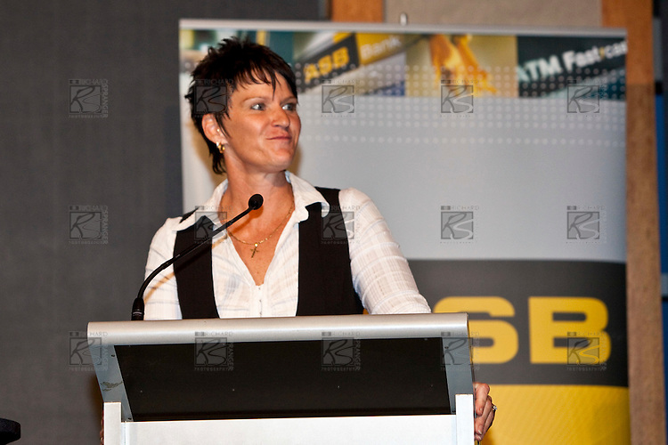 Guest speaker Kirsten Hellier at the ASB College Sport Auckland Secondary School Young Sports Person of the Year Awards held at Eden Park on Thursday 12th of September 2009.