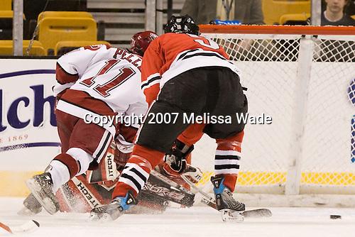 Jon Pelle (Harvard - 11), Jacques Perreault (NU - 9) - The Northeastern University Huskies defeated the Harvard University Crimson 3-1 in the Beanpot consolation game on Monday, February 12, 2007, at TD Banknorth Garden in Boston, Massachusetts.